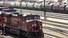 Canadian Pacific Railway locomotives are shuffled around a marshalling yard in Calgary in 2012. The railway is rejecting a legal demand by the Quebec government that it help fund the cleanup of Lac-Mégantic. (Jeff McIntosh/The Canadian Press)