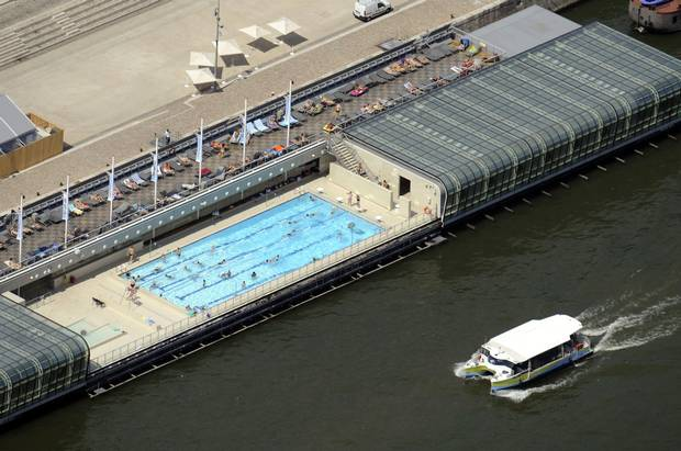 An aerial picture taken aboard an helicopter on July 20, 2010 shows the Josephine Baker swimming-pool along the Seine River in Bercy in Paris.