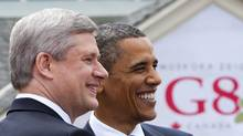 Canadian Prime Minister Stephen Harper greets United States President Barack Obama during the official welcoming of the G-8 leaders to the G8 Summit in Huntsville, Ont., on Friday June 25, 2010. (Sean Kilpatrick/THE CANADIAN PRESS)