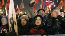 Opposition protesters gather a rally in Moscow, Russia, Monday, March 5, 2012. (Misha Japaridze/AP)