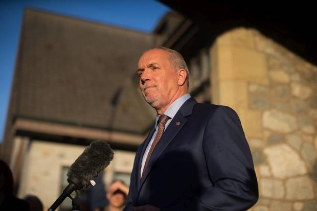 Then-premier designate John Horgan speaks to the media after the province's Lieutenant-Governor asked him to form government.