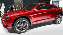 Lamborghini's latest SUV, Urus, on display in Beijing. (Vincent Thian/AP)