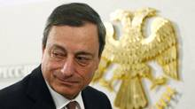 "European Central Bank President Mario Draghi leaves a news conference in Moscow February 15, 2013. Draghi on Friday criticized ""chatter"" on currencies that has roiled foreign exchange markets in recent weeks. (GRIGORY DUKOR/REUTERS)"