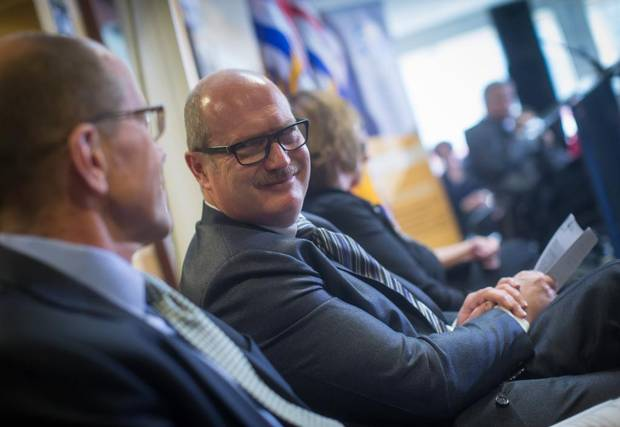 B.C. Finance Minister Mike de Jong attends a funding announcement at Covenant House in Vancouver in March of 2017.