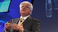 RIM President and Co-CEO Mike Lazaridis, introduces the new Blackberry Torch at a news conference August 3, 2010 in New York City. (Mario Tama/Getty Images)