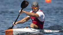 Canada's Adam van Koeverden celebrates after winning his heat at the 2009 ICF Canoe Sprint World Championships on Lake Banook in Dartmouth, N.S., on Aug. 14, 2009.