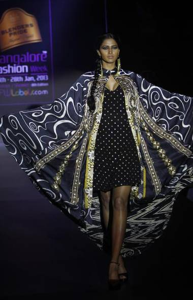 A model wears a creation by Ritu Kumar at Bangalore Fashion Week in Bangalore, India (Aijaz Rahi/AP)