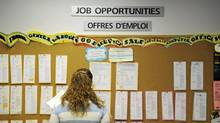 A job board at Youth Employment Services in Toronto. (KEVIN VAN PAASSEN/THE GLOBE AND MAIL)