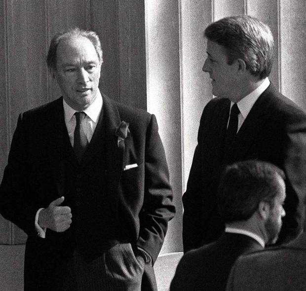 Mr. Trudeau and Mr. Mulroney, then the opposition leader, are shown on March 28, 1984.