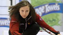 Team Ontario skip Rachel Homan delivers a rock during tenth draw curling action against Saskatchewan at the Scotties Tournament of Hearts Wednesday, February 20, 2013 in Kingston, Ont. (CP)