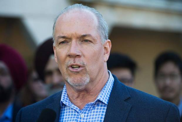 NDP Leader John Horgan during a campaign stop outside a supporter's home in Richmond, B.C., on May 4, 2017.
