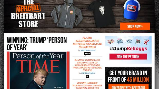 The Breitbart website landing page shows the boycott against Kellog's after the cereal company pulled their advertisements.