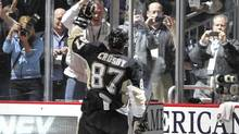 Sidney Crosby of the Pittsburgh Penguins waves after being selected as number one star of the game at Consol Energy Center. (Justin K. Aller/2011 Getty Images)