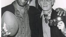 O.J. Simpson (L) and Andy Warhol