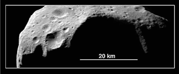 Asteroid Mathilde, as seen by the Near Earth Asteroid Rendezvous spacecraft on June 27, 1997.