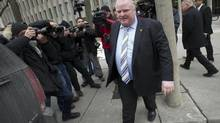 Mayor Rob Ford leaves court during a break in proceedings in Toronto, Ont. Monday, January 7, 2013. Ford is appealing a conflict of interest judgement against him. (Kevin Van Paassen/The Globe and Mail)