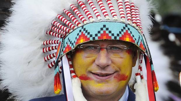 PM Harper Gets into Native Spirit
