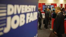 File photo of job seekers arriving at a jobs fair in Washington. (Jason Reed/Reuters)
