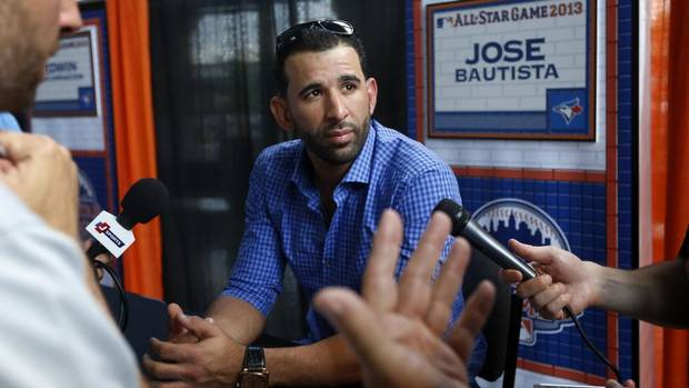 Outfielder Jose Bautista of the Toronto Blue Jays speaks with reporters before the Major League Baseball All-Star Game Home Run Derby in New York July 15, 2013. (SHANNON STAPLETON/REUTERS)