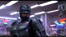 Peter Weller in Robocop (1987): In a dystopic and crime-ridden Detroit, a terminally wounded cop returns to the force as a powerful cyborg with submerged memories haunting him. Directed by Paul Verhoeven. Starring Peter Weller, Nancy Allen.