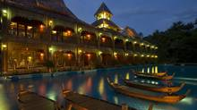 The Santhiya Resort at night.