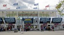 My Ontario Place Pavilion, a venue to share ideas about the future of the park, opened to the public on Tuesday. (Sarah Dea/The Globe and Mail)