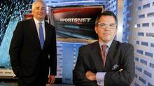 Rogers executives Dale Hooper, left, and Dean Bender with the new logo for Sportsnet (Fernando Morales/Fernando Morales/The Globe and M)