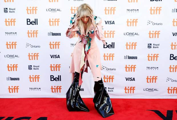 Lady Gaga arrives on the red carpet for her film