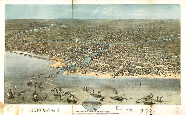 Map of Chicago in 1868 from Schiller Street north side to 12th Street south side. Bird's Eye view.