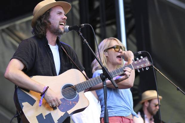 Kevin Drew, left, and Emily Haines of Broken Social Scene perform during the Arroyo Seco Music Festival on June 24, 2017, in Pasadena, Calif.