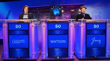 "Former JEOPARDY! Champion contenstants during the final day of sparring sessions against Watson, IBM TJ Watson Research Center, Yorktown Heights, NY. Jeopardy! panel - NOVA ""Smartest Machine on Earth"""