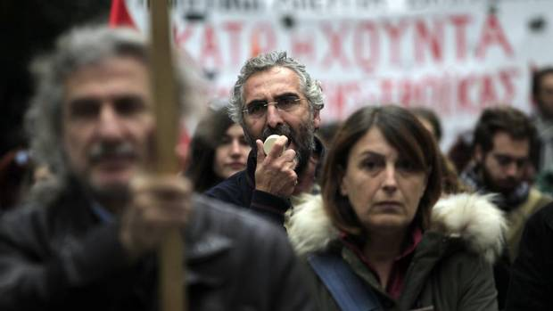 Protesters chant slogans during a union protest in Thessaloniki, Greece on Nov. 14, 2012. Workers across the European Union sought to present a united front against ramp