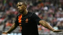 Netherlands' Luciano Narsingh celebrates scoring a goal during their friendly soccer match against Bayern Munich in Munich May 22, 2012. (MICHAELA REHLE/Reuters)