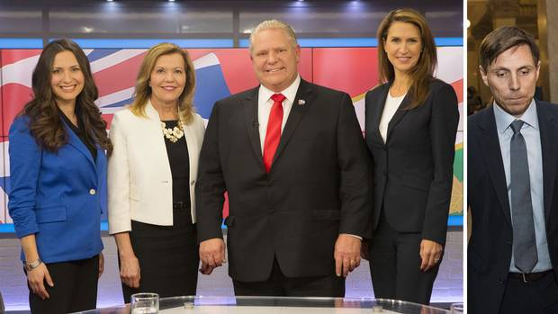 At left, four of the candidates for the Ontario Conservative party leadership – Tanya Granic Allen, Christine Elliott, Doug Ford and Caroline Mulroney – pose for a photo in TVO studios in Toronto after a televised debate on Feb. 15. A day later, Patrick Brown, the leader the four are seeking to replace, entered the race for his old job.
