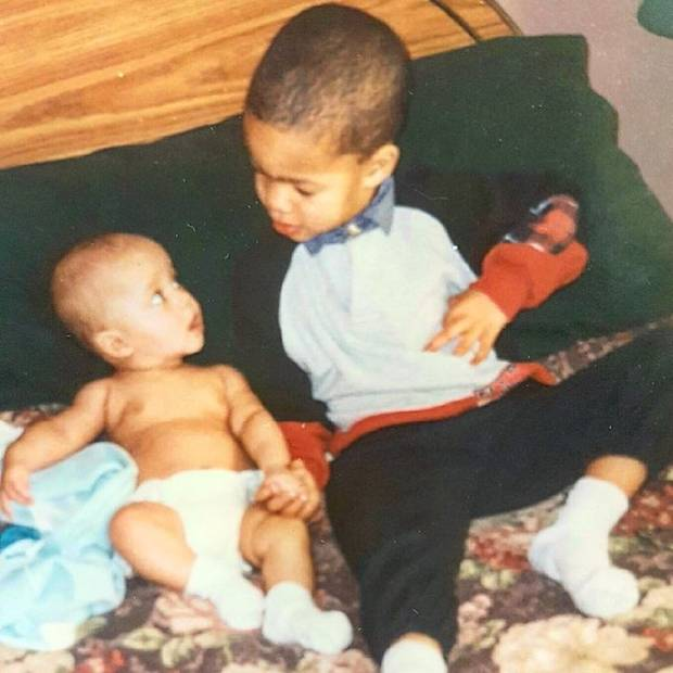 Jonah McIntosh, at three years old, with his baby brother, Cody, at home in Ajax. in early 1998.