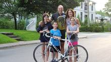 Phil Anzarut says he's feeling great and ready to ride. Shown with him are his wife Alissa and three children, from left to right, Rina, Noah and Marlo.