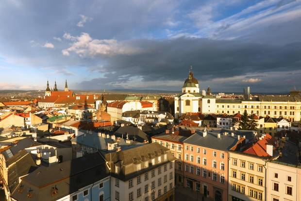 The view of church domes and spires from the tower at Olomouc's Town Hall.