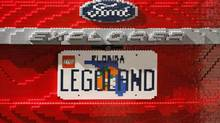 A licence plate adorns the back of The LEGOLAND Florida edition Ford Explorer. (M. SPENCER GREEN/AP)