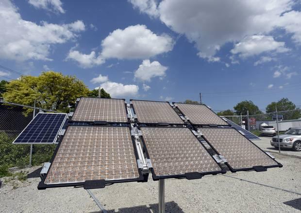 An array of 80-watt solar panels on a tracking system at Morgan Solar's Toronto facility in 2015.