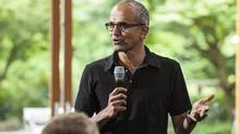 Microsoft's Satya Nadella addresses employees during the One Microsoft Town Hall event in Seattle, Washing in this July 11, 2013 photo. (MICROSOFT/REUTERS)