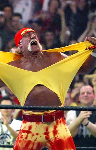 10. HULK HOGAN Okay, forget those bulging, monstrous muscles and startling grunts emerging from this man. If you met Hulk Hogan in a dark alley sans stache, would he be nearly as intimidating? We say nay. (CHRIS CARLSON/AP)