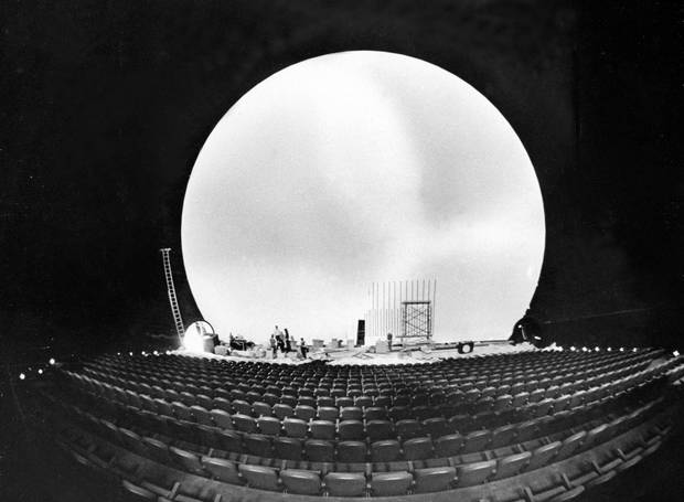 The 60-foot by 80-foot curved screen of Cinesphere during construction, April 20, 1971.