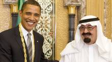 U.S. President Barack Obama and Saudi Arabia's King Abdullah are seen during a meeting at the king's farm outside Riyadh on June 3, 2009. (Larry Downing/Reuters)