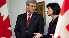 Prime Minister Stephen Harper meets with Swiss President Doris Leuthard in Kehrsatz, Switzerland on Oct. 22, 2010. (Sean Kilpatrick/The Canadian Press)