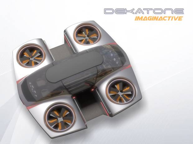 Distributing the centre of gravity to the four corners of the vehicle gives it more stability in the air.