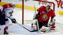 Ottawa Senators goalie Craig Anderson (41) makes a save in the second period against Florida Panthers at Scotiabank Place. (Marc DesRosiers-US PRESSWIRE/US PRESSWIRE)