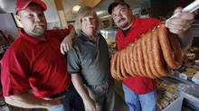Christian, Walter and Zenon Klopick at Tenderloin Meat & Sausage in Winnipeg. (JOHN WOODS For The Globe and Mail)