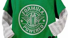 "Old Navy bodysuit with the words ""Formula Powered"" on the front"