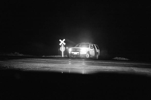 A U.S. Customs and Border Protection officer on patrol near Noyes, Minn.