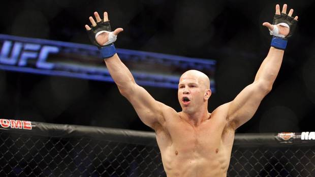 Ultimate Fighting Championship fighter Ryan Jimmo, from Edmonton, Alta., celebrates knocking out Anthony Perosh, from Australia, in the first round during UFC 149 in Calgary, Alta., Sat., July 21, 2012. (Jeff McIntosh/THE CANADIAN PRESS)